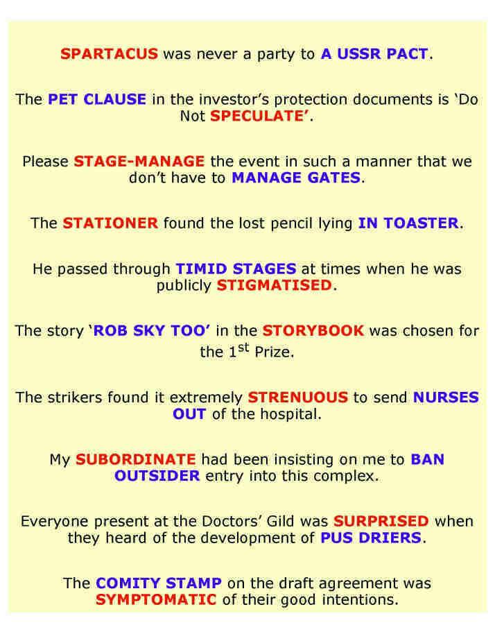 Fun sentences based on anagrams